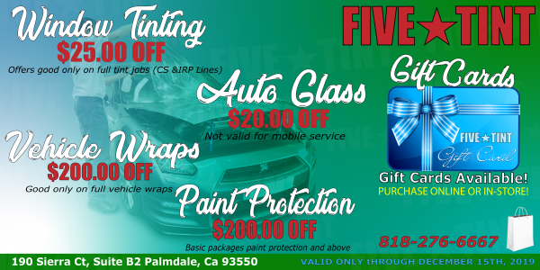 Window Tinting Prices Near Me >> Five Star Tint Window Tinting Vinyl Wrap Paint